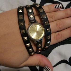 Faux leather watch bracelet